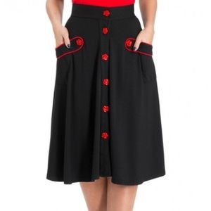 Voodoo Vixen Black circle skirt w/ rose buttons XL